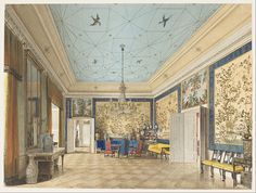 Eduard Gaertner - The Chinese Room in the Royal Palace, Berlin - Google Art Project.