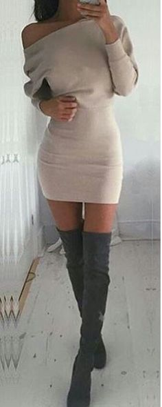 Beige One-Shoulder Dress with Thigh High Boots - loving this look for a night out in any of my favorite cities, NYC, LA or Miami Mode Outfits, Night Outfits, Sexy Outfits, Sexy Dresses, Cute Dresses, Casual Outfits, Fashion Outfits, Womens Fashion, Fashion Trends