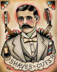 "Tattooed barber tattoo flash. ""Shaves n Cuts"". Quyen Dinh Ulimate swagger. Mens haircuts and the barber the cut hair! Latest fashion and hair trends www.barber2barber.com"