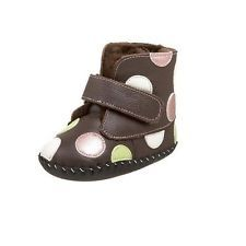 Brand New PEDIPED Babies GISELLE Chocolate Spot Booties Age 6-12 mths