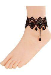 Time Pawnshop Retro Hollow Black Lace Drop-shape Elegant Sexy Anklet