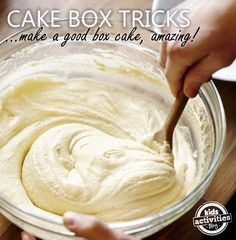 The next time you need to make a delicious cake use these 10 Tricks to Make A Box Cake Mix Taste Like Homemade! The next time you need to make a delicious cake use these 10 Tricks to Make A Box Cake Mix Taste Like Homemade! 13 Desserts, Delicious Desserts, Yummy Food, Food Cakes, Cake Mix Recipes, Dessert Recipes, Dinner Recipes, Chocolate Cake Recipe From Box, Pie Recipes
