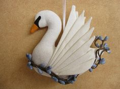 Seven Swans a Swimming Ornament by lkQuiltArt on Etsy we could make out of paper