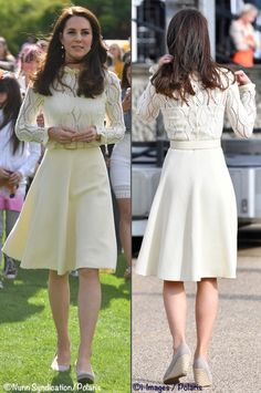 d06f28927 Kate's lacy cream dress, which nipped in at the waist and flared out,  showed off her toned figure. She paired the outfit with a pair of pearl  drop earrings ...