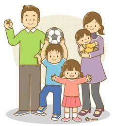 5人家族のイラスト(ソフト)