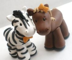 Horse and Zebra Couple Figures Cake Topper CAN BE by KenzCreations, $35.00