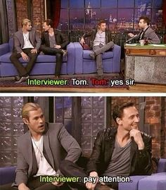 Tom Hiddleston getting distracted.. What are you so adorable?