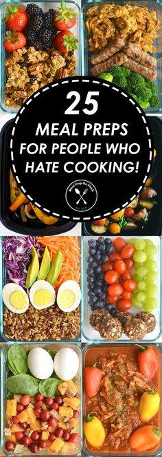 "25 Meal Prep Recipes For People Who Hate To Cook  If you are here reading this then you must fall into one of two categories: 1) you hate cooking (ie, the title of this article, ""25 Meal Prep Recipes For People Who Hate To Cook), but want to know what you could make that is meal prep friendly and basically requires little to no effort, or  2) you actually enjoy cooking, but know that you are most likely going to find a few really fast and easy recipes here."