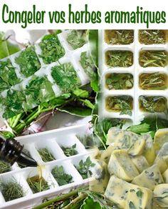 GLAÇONS D'HERBES AROMATIQUES - Ciselez vos herbes fraiches, les rincer et les tasser dans un bac à glaçon. Les recouvrir d'huile d'olive, les congeler et les démouler pour les conserver au congélateur dans une boite. A utiliser dans les 6 mois en fonction de vos besoins.