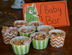 baby mix for first birthday party.  yogurt melts, cherios & teddy grahams.  A big hit with the 2 & under crowd.