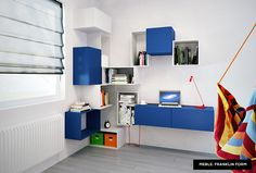 Blue & white modular furniture - great idea for bedroom