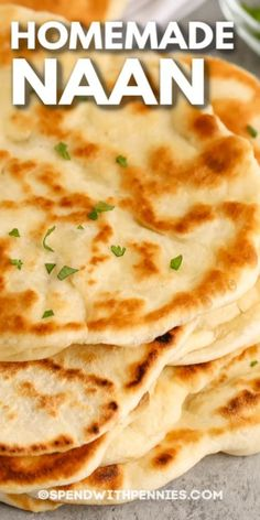 Homemade Naan Bread is a delicious, fresh bread made completely from scratch. Serve with butter chicken and use to soak up all that sauce! #spendwithpennies #naanbread #recipe #sidedish #homemade #indian