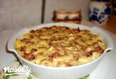 Rakott galuska 2. - tejfölös-tarjás | Nosalty Meat Recipes, Pasta Recipes, Hungarian Recipes, Tortellini, Gnocchi, Cheeseburger Chowder, Macaroni And Cheese, Bacon, Pork