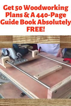 Get 50 Woodworking Plans & A Guide Book Absolutely FREE! - Get 50 Woodworking Plans & a Guide Book Absolutely FREE! Get access to 50 step-by-step woo - Woodworking Furniture Plans, Woodworking Workbench, Woodworking Workshop, Woodworking Projects Diy, Diy Wood Projects, Woodworking Shop, Workbench Ideas, Free Woodworking Plans, Awesome Woodworking Ideas