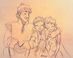 You may not need a big strong man to save you, girls, but he sure has big, comfy shoulders to lean on at the end of the day. Anna Y Elsa, Frozen Elsa And Anna, Frozen Drawings, Disney Drawings, Frozen Disney, Disney And Dreamworks, Disney Pixar, Olaf, Frozen Fan Art