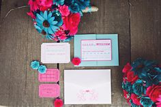 Pink And Blue Carnival Inspired Wedding captured by Boise wedding photographer Ampersand Studios.