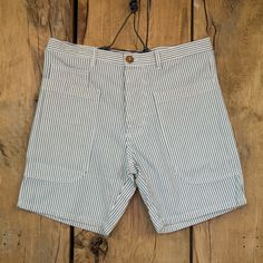 The Short Utilitaire in Hickory Stripe by Bleu De Paname
