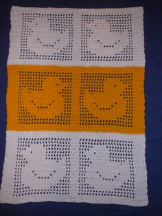 Made No. 203: Duck filet crochet blanket. Bernat Super Value in Bright Yellow and White.