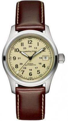 Hamilton Watch Khaki Field Auto #bezel-fixed #bracelet-strap-leather #brand-hamilton #case-material-steel #case-width-38mm #date-yes #delivery-timescale-call-us #dial-colour-yellow #gender-mens #luxury #movement-automatic #official-stockist-for-hamilton-watches #packaging-hamilton-watch-packaging #style-dress #subcat-khaki-field #supplier-model-no-h70455523 #warranty-hamilton-official-2-year-guarantee #water-resistant-100m