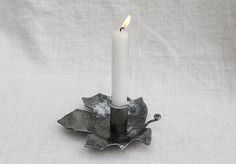 Hand-forged Wrought Iron Maple Leaf Candle von WallaceMetalWorks