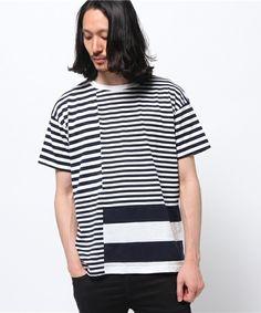 ROYAL FLASH MEN'S(ロイヤルフラッシュ メンズ)のgalvanize/ガルバナイズ/BORDER ランダム切替Tシャツ(Tシャツ/カットソー)|ネイビー
