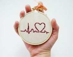 Burgundy Heart with Palpitations Cross Stitch  (I love the perfect little ECG tracing that it starts off with - okay, cardiac nurse nerd moment over)
