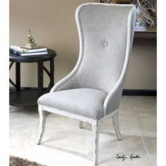 Uttermost Selam Wing Chair in Flax Linen & Weathered White Finish Furniture and Decor Exchange | Your source to Buy and Sell luxury furniture and decor online in the UAE | FDXOnline