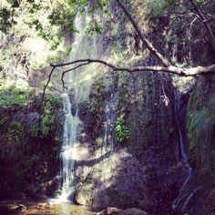 Beautiful waterfall tucked away in the Santa Monica Mountains in Southern California. Nice treasures found while hiking.   http://gohikingmommy.wordpress.com/2012/03/29/we-found-a-new-trail-w-waterfalls/