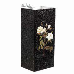 Купить Ваза для цветов Белые розы, ваза ручной работы для интерьера - ваза, ваза для цветов