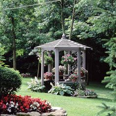 Design Ideas Small Gazebo, Big Effect - Even a small gazebo can have a big impact. The structure offers a great getaway at the edge of a wooded area and a view back toward the elaborately landscaped house. Plants fill the gazebo with color Gazebo Pergola, Building A Pergola, Pergola Plans, Gazebo Ideas, Outdoor Rooms, Outdoor Gardens, Outdoor Living, Dream Garden, Home And Garden