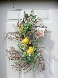 Spring Easter Peeps Door Arrangement wreaths by sandys4899florals