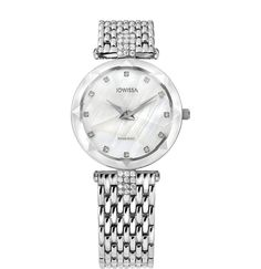 This Swiss-made silver watch for women with a classic 30mm diameter brings extra shimmer to your wrist. It has a gorgeous white mother-of-pearl dial detailed with glittering rhinestones and a silver mesh band to give it a jewellery look and feel. This on-trend ladies timepiece is a star attraction and will turn heads wherever you go. #ladieswatch #SwissMade #Jowissa #silverwatch Stainless Steel Bracelet, Stainless Steel Case, Mesh Band, Key Design, Beautiful Watches, Fashion Watches, Lady, Diamond Cuts, Bracelet Watch
