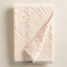 One of my favorite discoveries at WorldMarket.com: Blush Barcelona Tile Sculpted Bath Towel