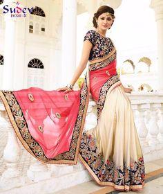 Designer Half and Half Sarees #sarees #designer sarees #online shopping #women clothing #clothing #fashion #indian sarees #wedding sarees #Party Wear Sarees #style #