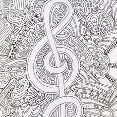 A musical page from Color Me Happy, part of the Zen Coloring book range by Art Therapist Lacy Mucklow: