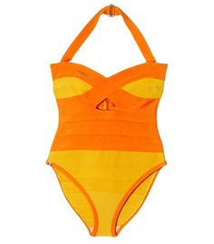 A truly sexy suit you could actually swim, dive, frolic, bodysurf, dig for a volleyball, etc. while wearing. But exactly how big is your beach budget?! Women's One-Piece Colorblock Halter Swimsuit by Herve Leger via ShopBAZAAR