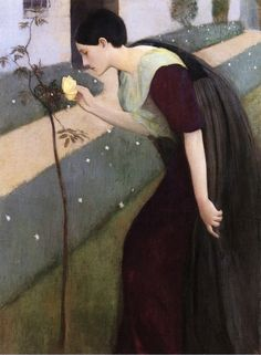 Kenneth Frazier (American, 1867-1949): Woman with a rose, 1891-1892. Oil on canvas, 51 x 38 inches (129.54 x 96.52 cm). Private Collection.