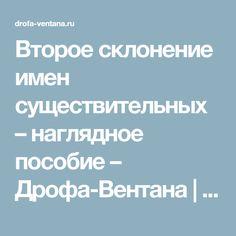Второе склонение имен существительных – наглядное пособие – Дрофа-Вентана | корпорация «Российский учебник»