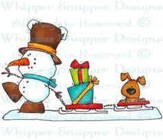 A Puppy Sleigh Ride - Snowmen Images - Snowmen - Rubber Stamps - Shop
