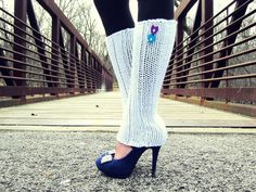 Leg Warmers Knit White Heart over those shoes