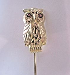*14K YELLOW GOLD ANTIQUE OWL STICK PIN WITH RUBY GEMSTONES FOR EYES ESTATE | Jewelry & Watches, Vintage & Antique Jewelry, Fine | eBay!