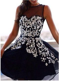 Dark Navy Appliques Short Homecoming Dress,Sexy Party Dress,Charming Homecoming…