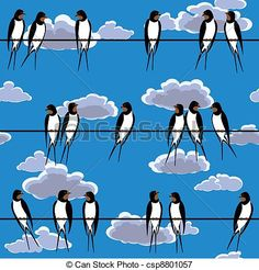 Vector - swallows perched on a wire seamless - stock illustration, royalty free illustrations, stock clip art icon, stock clipart icons, logo, line art, EPS picture, pictures, graphic, graphics, drawing, drawings, vector image, artwork, EPS vector art