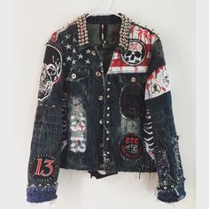 American Monster jacket! Denim studded jacket. Punk Rock jacket. Distressed rocker jacket from ChadCherryClothing.
