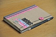 notes by Manu Artecuore Mini Scrapbook Albums, Scrapbook Paper Crafts, Mini Albums, Diy Note Pad, Composition Notebook Journal, Paper Bag Album, E Craft, Craft Ideas, Little Presents