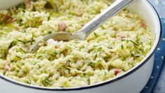 Courgette risotto recipe - goodtoknow This bacon zucchini risotto is delicious (though, as with any risotto, be careful not to add your liquid too fast). Risotto Recipes, Bacon Recipes, Cooking Recipes, Uk Recipes, Rissoto, Bacon Zucchini, Rice Dishes, Food For Thought, Kochen
