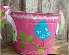 Easter Bucket Personalized Hand-Painted Tin Pail by ladeedahart