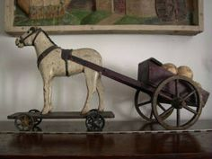 ANTIQUE WOOD FOLKART HORSE AND BUGGY.