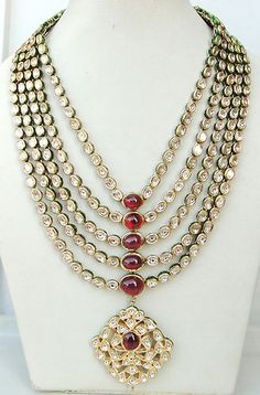 Vintage Antique 20K Gold Diamond Polki Kundan Enamel Work Necklace Rajasthan Ind | eBay