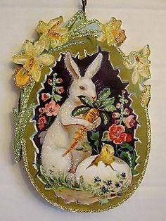 BUNNY & CARROT w/ CHICK in GOLD EGG  ~  EASTER Ornament ~ Vtg Postcard Img